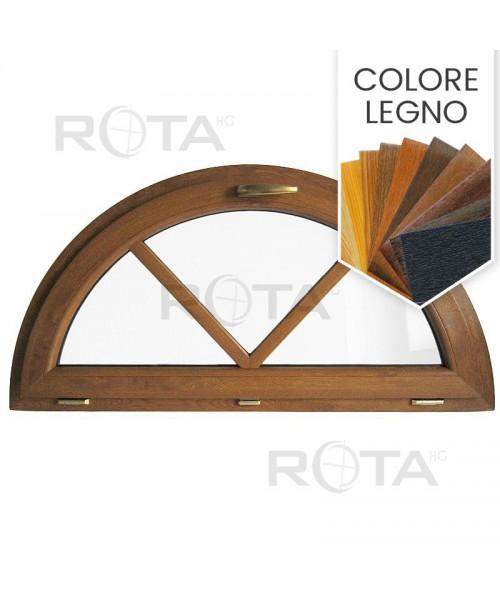 Finestra semicircolare a vasistas PVC colore legno con inglesine incollate