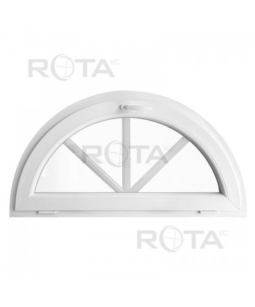 Finestra semicircolare a vasistas con inglesine interne PVC bianco
