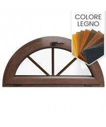 Finestra semicircolare a vasistas con inglesine interne PVC colore legno