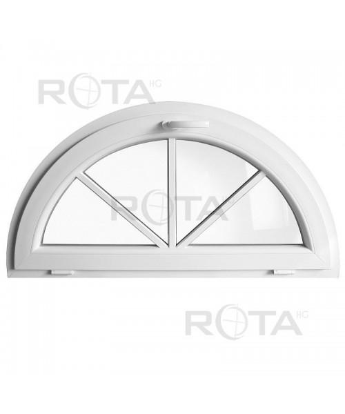 Finestra semicircolare a vasistas PVC bianco con inglesine esterno