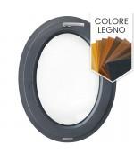 Finestra ovale a vasistas oblò PVC colore legno (verticale)