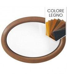 Finestra ovale fissa orizzontale in PVC colore legno