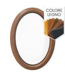 Finestra ovale fissa verticale in PVC colore legno