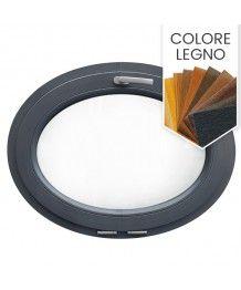 Finestra ovale a vasistas oblò PVC colore legno (orizzontale)