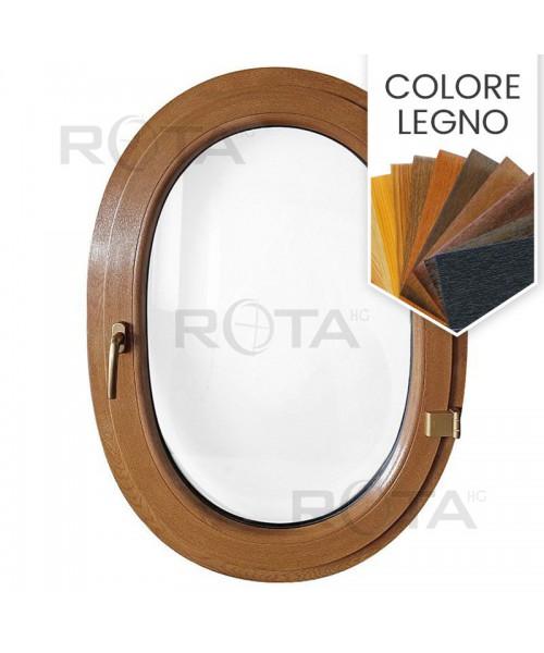 Finestra ovale a battente oblò in PVC colore legno
