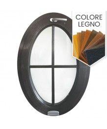 Finestra ovale a vasistas oblò con inglesine esterne PVC colore legno