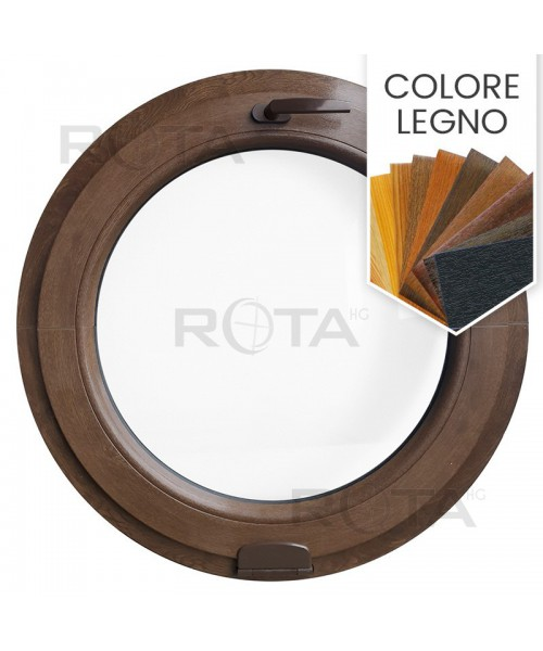 Finestra rotonda oblò a vasistas PVC colore legno con cerniera Estetic 3D