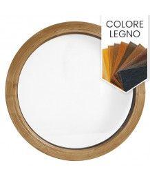 Finestra rotonda fissa in PVC colore legno