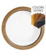 Finestra rotonda oblò fisso in PVC colore legno