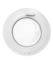 Finestra rotonda a vasistas in PVC bianco con profilo a Z
