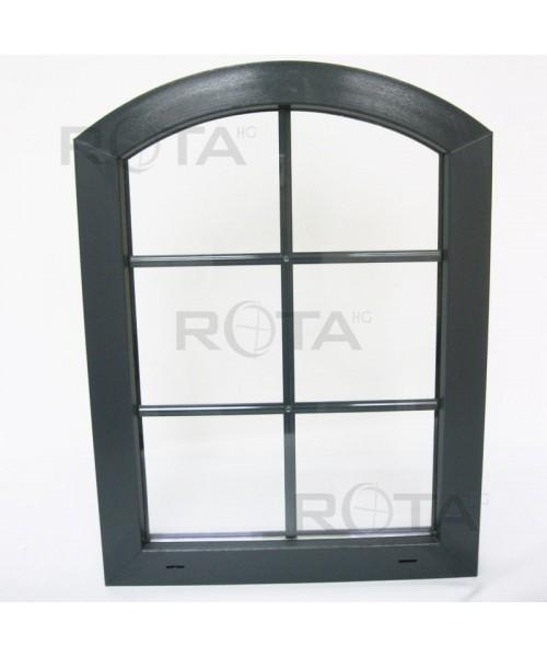 Finestra ad arco fissa 600x800mm in PVC colore antracite con inglesine interno