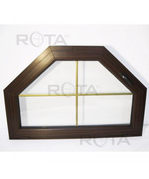 Finestra trapezoidale a vasistas PVC Mogano con inglesina oro