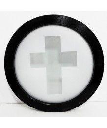 Finestra rotonda oblò fisso in PVC con vetri stampati - decoro sabbiato