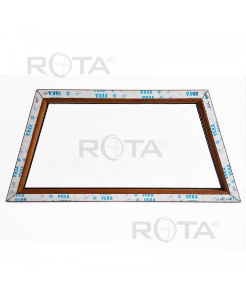 Finestra trapezoidale fisse PVC Quercia dorata